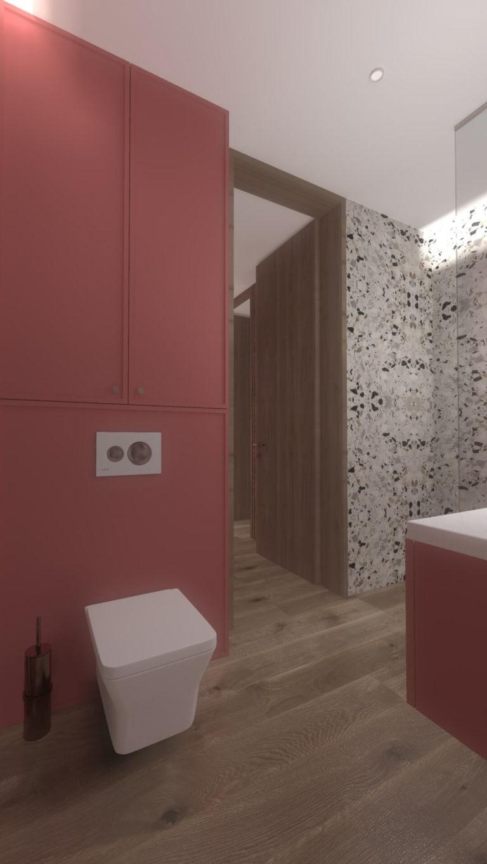 projekt wc - drewno, marmur, różowa ściana