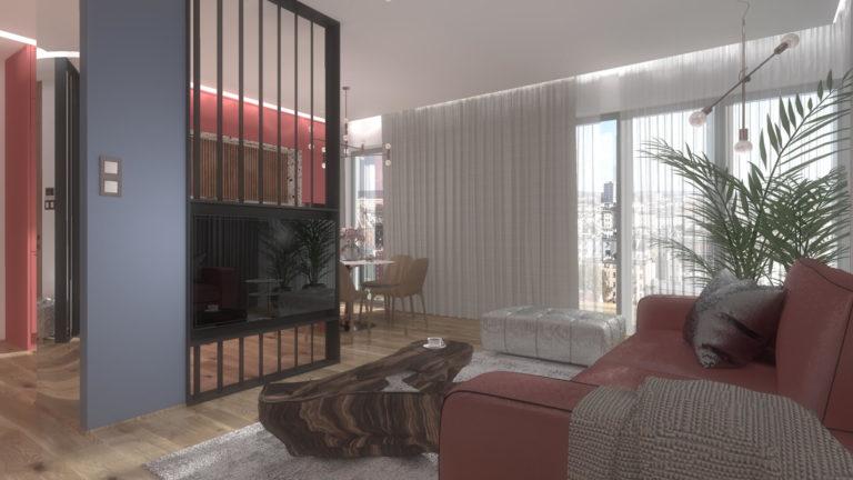 dekoracyjna ażurowa ścianka dzieląca w salonie