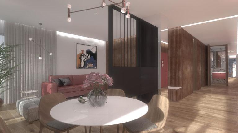 salon podzielony na jadalnie i strefę wypoczynkową
