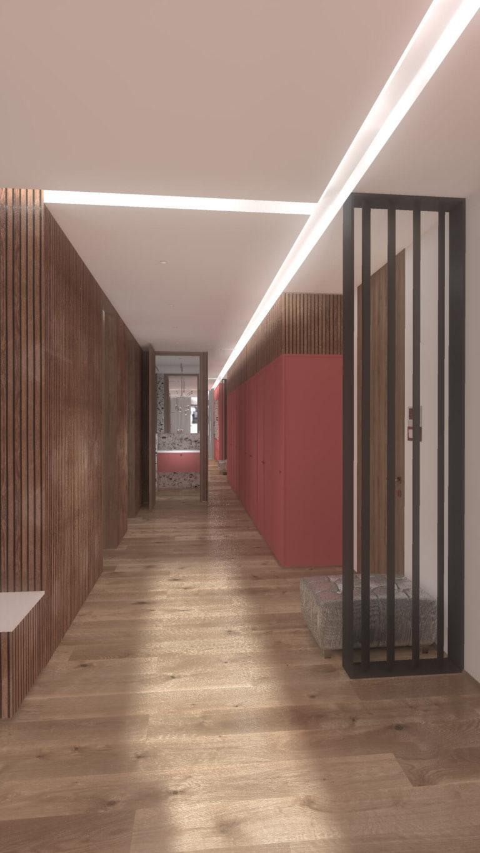 korytarz w drewnie - wizualizacja