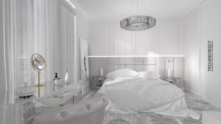 biała sypialnia w stylu glamour