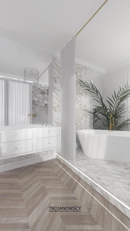 minimalistyczny pokój kąpielowy